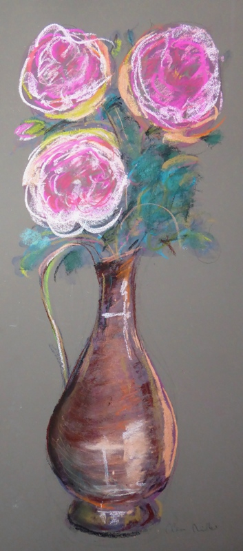 Copper vase with roses
